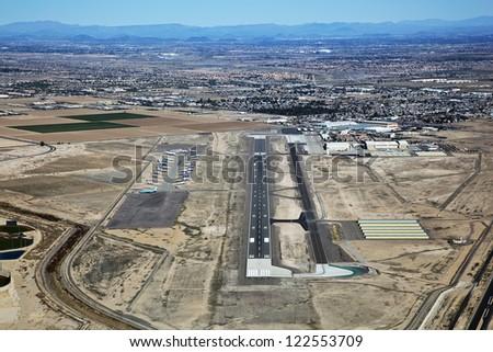 Pilot's view of the Goodyear Airport, Goodyear, Arizona - stock photo