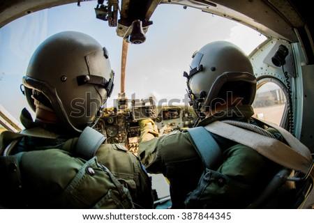 Pilot, soldier, pilot, two soldiers ,  Fighter pilot, war  - stock photo