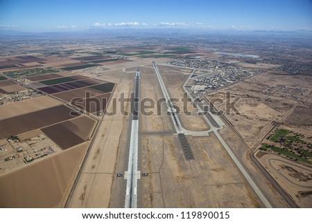 Pilot view of runways at Luke near Phoenix, Arizona - stock photo