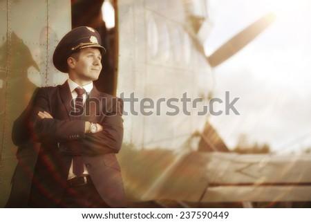 pilot vintage aircraft - stock photo