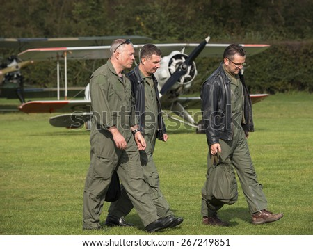pilots on the flight line at the Shuttleworth Collection,Bedfordshire,UK. taken 26/09/2014 - stock photo