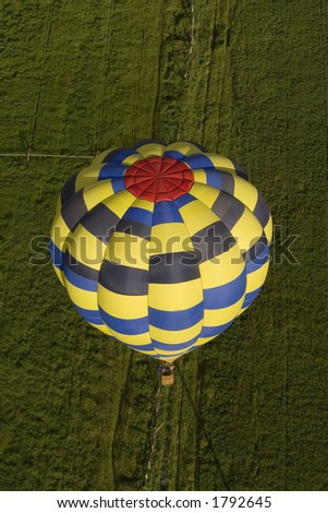 Pilots View from Hot Air Balloon - stock photo
