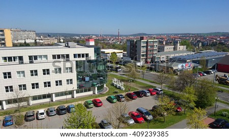 PILSEN, CZECH REPUBLIC - APRIL 21, 2016: RAKO company headquarters in suburban district Plzen Bory in Pilsen city. RAKO produce complete and sets of wall and floor tiles, which sell around world.  - stock photo
