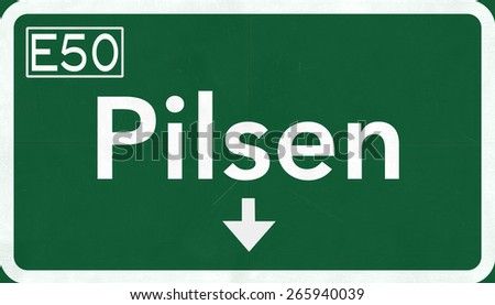 Pilsen Czech Republic Highway Road Sign