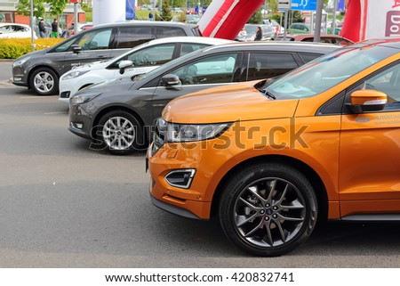 PILSEN, CZECH REPUBLIC - MAY 14, 2016: A new Ford Edge, Mondeo, Focus cars. Public car show near Olympia shopping centre. - stock photo