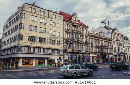 Pilsen, Czech Republic - October 3, 2015. Buildings at Klatovska Street in Pilsen (Plzen) city - stock photo