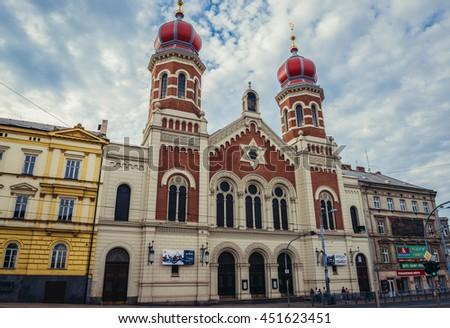 Pilsen, Czech Republic - October 3, 2015. Gothic style Great Synagogue in Pilsen (Plzen) City - stock photo