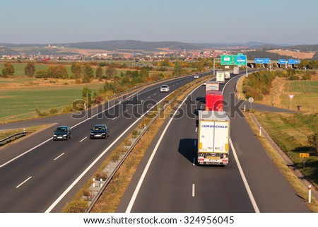 PILSEN, CZECH REPUBLIC - OCTOBER 2, 2015: Heavy traffic on the D5 highway. The D5 is important transport connection between West Bohemia and Bavaria in Germany. - stock photo