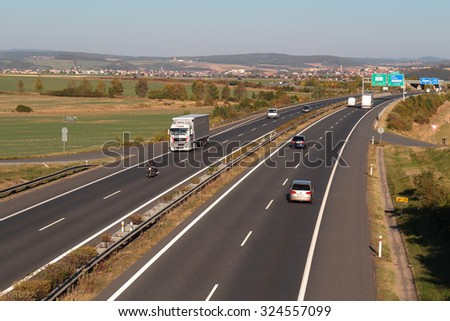 PILSEN, CZECH REPUBLIC - OCTOBER 2, 2015: Traffic on the D5 highway. The D5 is important transport connection between West Bohemia and Bavaria in Germany. - stock photo