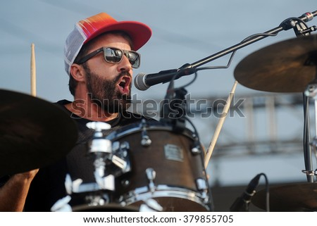 PILSEN - JULY 5: Drummer and singer Jules De Martino of The Ting Tings during performance at festival Rock for People Europe in Pilsen, Czech republic, July 5, 2015.
