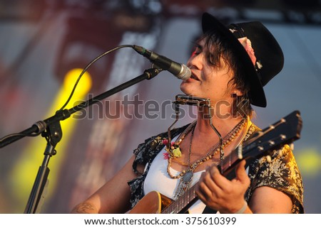 PILSEN - JULY 3: English singer Pete Doherty during his performance at festival Rock for People Europe in Pilsen, Czech republic, July 3, 2015. - stock photo