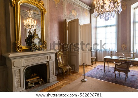 PILSRUNDALE, LATVIA   JUNE 22, 2016: Interior Of Rundale Palace In A  Beautiful