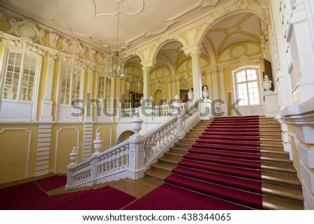 PILSRUNDALE, LATVIA - JUNE 9, 2016: Interior of Rundale palace.It is one of the two major baroque palaces built for the Dukes of Courland in what is now Latvia