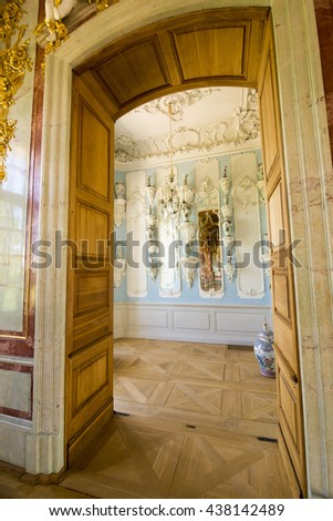 PILSRUNDALE, LATVIA - JUNE 9, 2016: Interior of Rundale palace. The Porcelain Cabinet