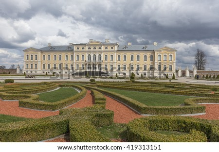 Pilsrundale, Latvia - May 1., 2016.; Exterior of Rundale palace. Rundale palace is one of the most outstanding monuments of Baroque and Rococo art in Latvia.