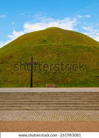 Pilsudski's Mound also known as Independence Mound or Freedom Mound, Krakow, Poland - stock photo