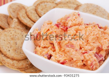 Pimiento cheese spread and crackers. A Southern favorite!