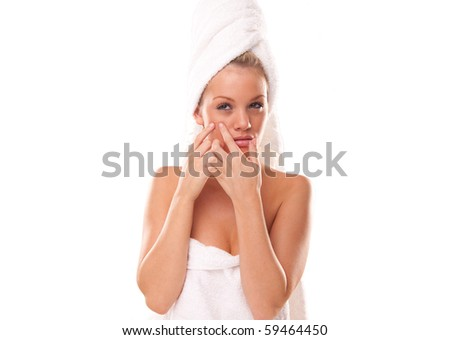 Pimple , spot on beauty woman face - stock photo