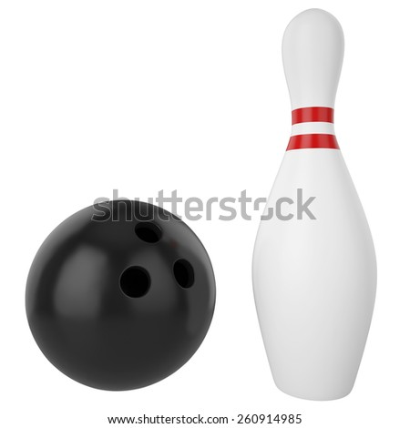 Pin and bowling ball isolated on white background. 3d illustration high resolution - stock photo