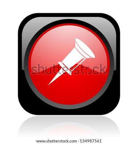 pin black and red square web glossy icon - stock photo