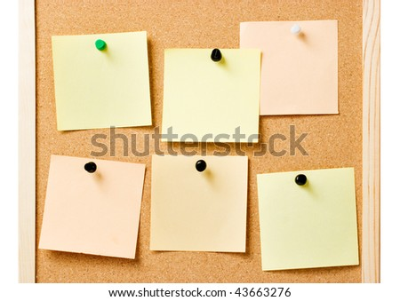 Pin board with pinned notes, useful as website template - stock photo