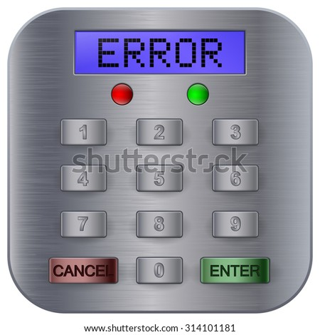 Pin code keypad for ATM machine and security safe. ERROR. Raster version. Illustration isolated on white background - stock photo