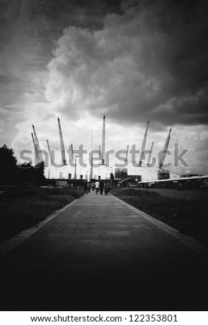 Pin hole shot of long path to the Millennium Dome Greenwich peninsula, London England UK - stock photo