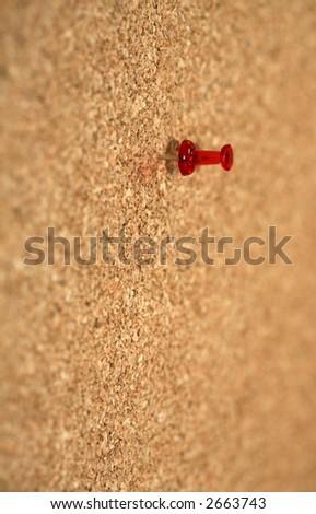 Pin in cork board - stock photo