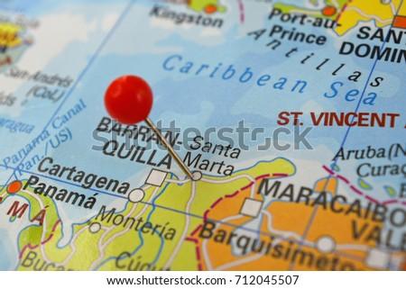 Pin Santa Marta On Map City Stock Photo 712045507 Shutterstock