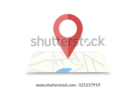 Pin on map web icon. Paper chart symbol. Position point gps sign. Moving to place, direction. Site design element. Internet navigantion. Navigator. Trip in region of destination. Pointer and cursor. - stock photo