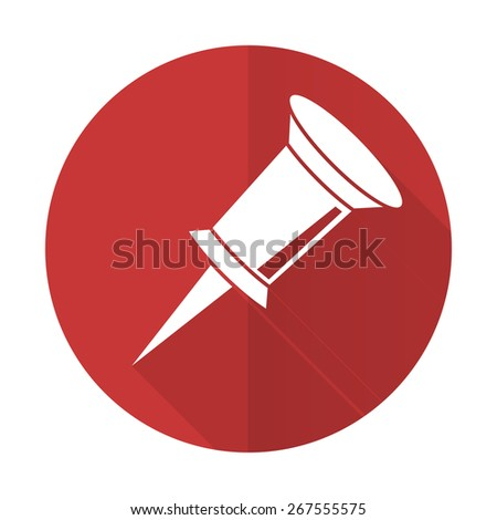 pin red flat icon   - stock photo