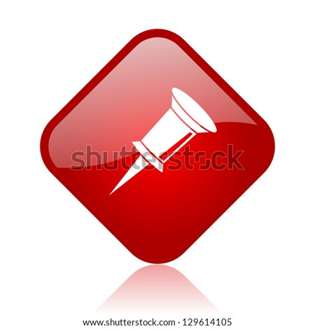 pin red square glossy web icon - stock photo