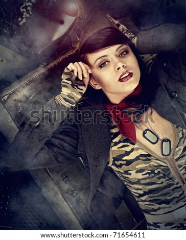 Pin-up army girl - stock photo