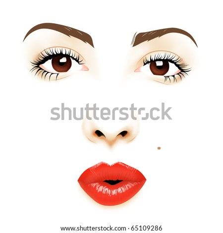 Pin-up face illustration - stock photo