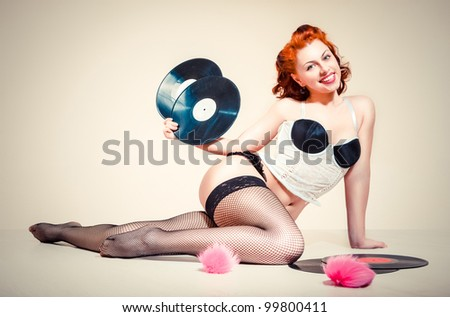 Pin-up girl. American style - stock photo