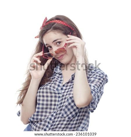 pin up girl flirting - stock photo