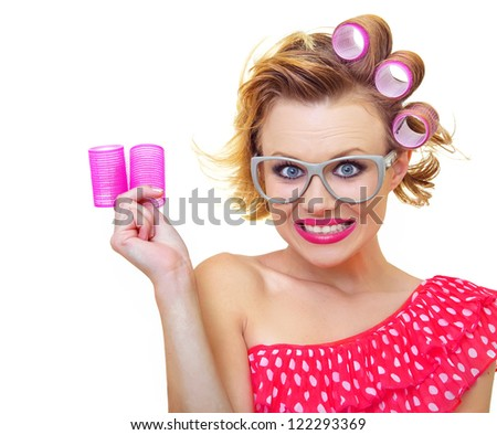 Pin-Up Girl holding curlers, similar in my gallery - stock photo