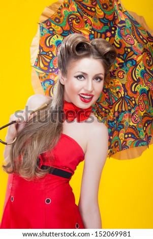 Pin-up girl in american style - stock photo