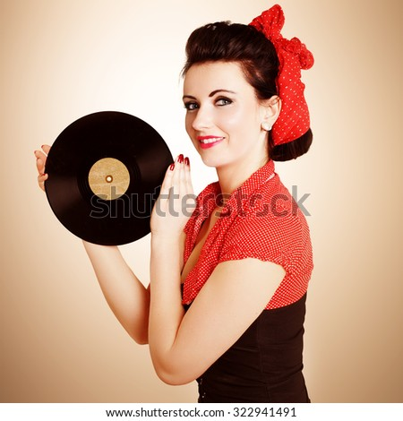 Pin Up Girl with gramophone record
