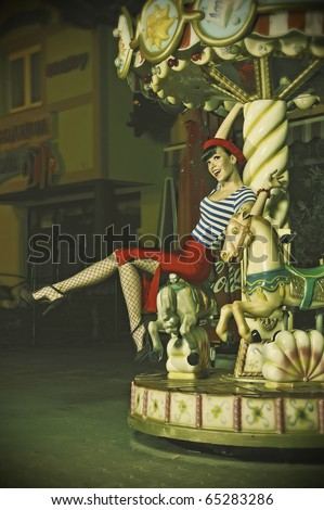 pin up girls in a Parisian style, outside at night, retro stylized photo - stock photo