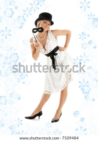 pin-up image of pretty lady with black mask and snowflakes