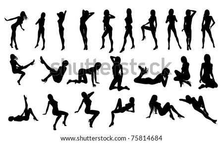 Pin-Up Silhouette - stock photo