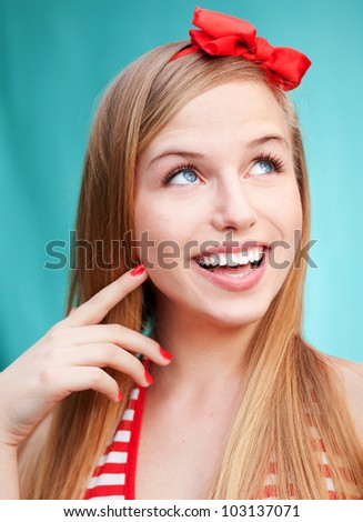 Pin up style portrait - stock photo