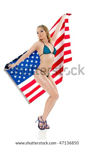 Pin-Up style sexy girl in lingerie with american flag isolated on white background