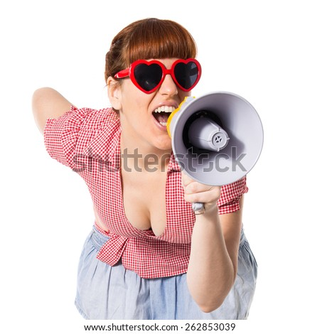 Pin-up woman shouting by megaphone