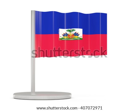 Pin with flag of haiti. 3D illustration