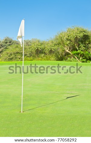 pin with flag on green in golf course blue sky - stock photo