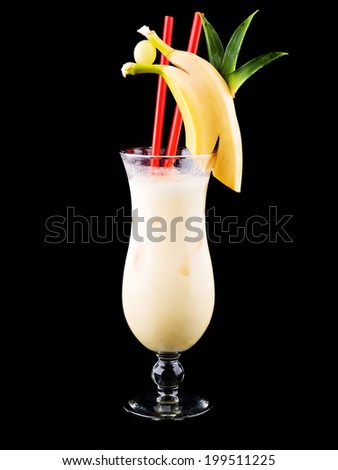 Pina Colada Cocktail isolated on black