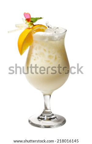 Pina Colada - Cocktail with Cream, Pineapple Juice and Rum. Isolated on White Background - stock photo