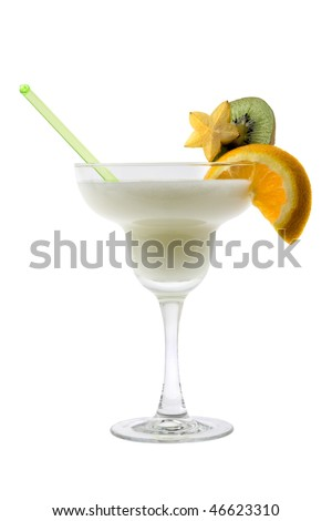 Pina Colada mixed drink with exotic fruit garnish on white background - stock photo